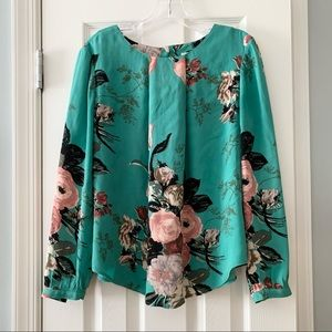 Boden green floral Tamara long sleeve blouse top